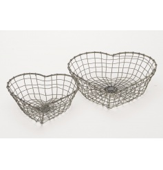 A set of 2 heart shaped storage baskets. Ideal for home storage and for shop displays.
