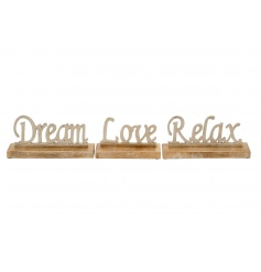 An assortment of 3 luxury 3D metal signs on chunky wooden bases. A charming accessory for the home.