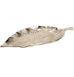A fine quality decorative tray in the shape of a leaf.