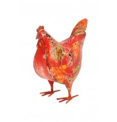 A rustic style chicken ornament with a brightly coloured finish. A unique decorative item for the home and kitchen.