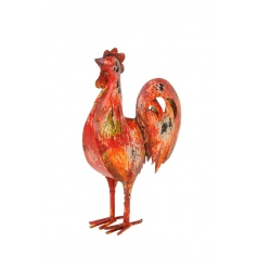 A charming rustic hen ornament with a colourful, distressed finish.