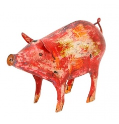 A colourful and quirky pig ornament. A unique decorative item for the home which is filled with rustic character and cha