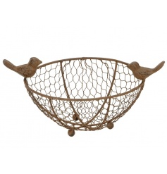 A rustic style wire basket with 2 decorative birds.