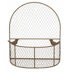 A rustic wall basket with two decorative birds. Ideal for planting up and for storage.