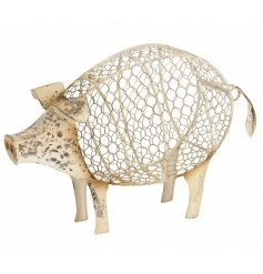A shabby chic cream pig ornament with storage facility. A unique accessory filled with plenty of rustic charm.
