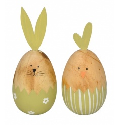 An assortment of 2 colourful Spring egg decorations in bunny and chicken designs.