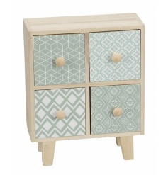 A stylish and contemporary wooden storage unit with 4 drawers, each with a geometric design.