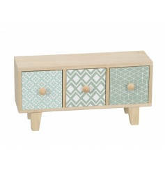 A stylish and contemporary wooden storage unit with three drawers, each with a different geometric design.