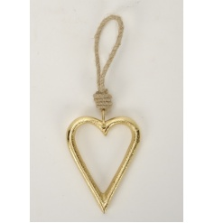 A stylish open gold heart hanging decoration with jute rope hanger.