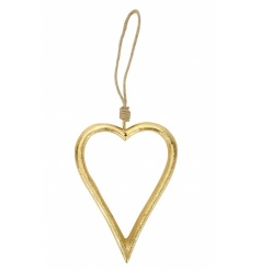 A classic and chic gold heart hanger with chunky jute rope to hang.