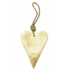 A chic gold heart hanger with an antique effect finish and a chunky rope hanger.