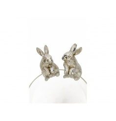 An assortment of 2 mini decorative rabbits, ideal for hanging from glasses, vases, t-light holders and more.