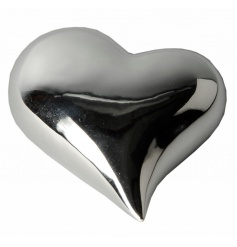 A classic silver heart ornament with a shiny finish.