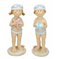 An assortment of 2 boy and girl swimming figures with goggles, starfish and beach ball.