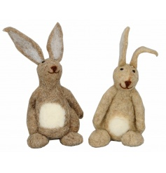 An assortment of 2 felt hare decoration. An adorable accessory for the home.