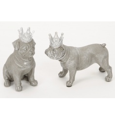 An assortment of 2 unique dog ornaments with crowns in sitting and standing poses.
