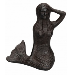 A unique cast iron mermaid ornament, ideal for the home or garden.