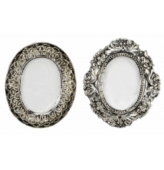 An assortment of 2 antique style silver photo frames in a classic oval design.