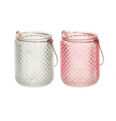 An assortment of 2 textured glass t-light holders in white and pink colours, finished with copper coloured handles.