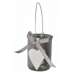 A shabby chic style t-light holder with a gingham bow and wooden heart detail.