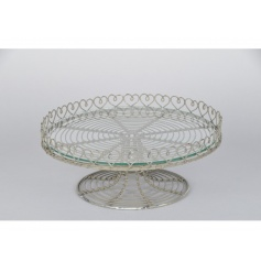A rustic style cake stand with a pretty heart design. Perfect for showcasing those delicious bakes!
