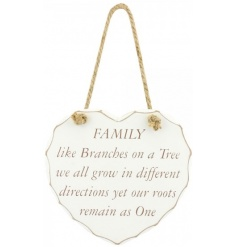 A gorgeous shabby chic heart plaque with chunky rope to hang