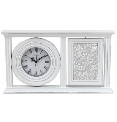Quirky shabby chic styled photo frame with a joint clock