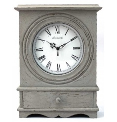 Grey Clock W/Drawer