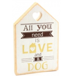 Large wooden house shaped plaque with carved out heart