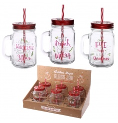 Glass drinking mason jars with Christmas slogans