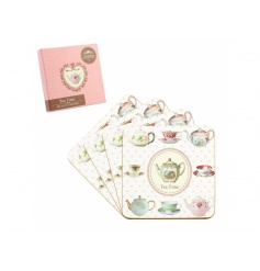 small set of mug coasters with a dainty vintage pattern