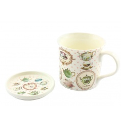 fine china and mug and coaster set with a dainty vintage pattern