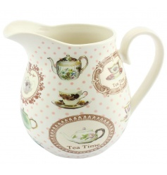 large fine china jug with a dainty vintage pattern
