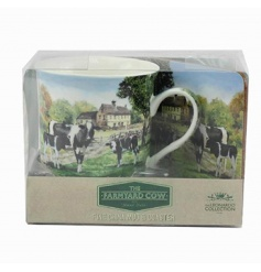 Vintage homely feel farm yard cow themed mug and coaster set with a gift box