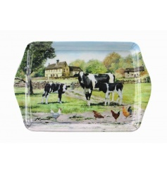 Vintage homely feel farm yard cow themed small plastic tray