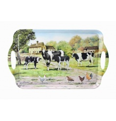 Vintage homely feel farm yard cow themed extra large plastic tray