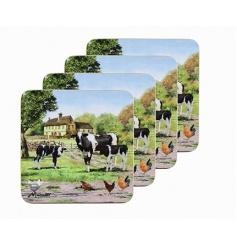 Vintage homely feel farm yard cow themed coaster set