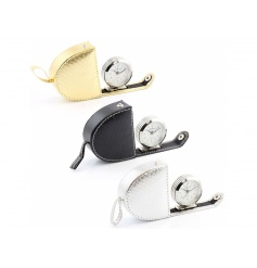 3 assorted travel alarm clocks each suited with their own colour. They come as Black, Gold and Silver.