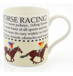 This horse racing fact mug with illustration makes a great gift item for lovers of the sport.