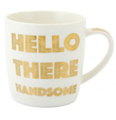A stylish gold and white 'Hello There Handsome' mug with gift box.