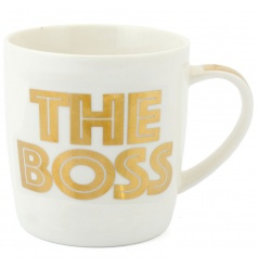 Gift boxed china mug with gold lettering
