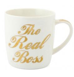 Gift boxed china mug with gold slogan, the real boss