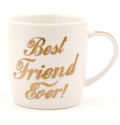 Best Friend Ever china mug with gold lettering slogan