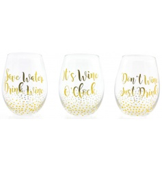 An assortment of 3 stemless wine glasses with wine slogans.