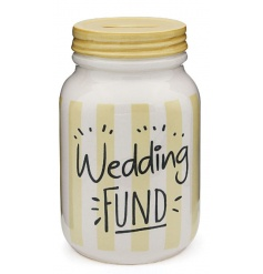 Save up for your special day with this wedding fund mason style money box.