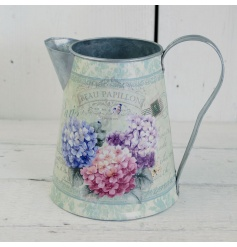 A metal jug with a pretty floral hydrangea decal. A pretty planter and home accessory.