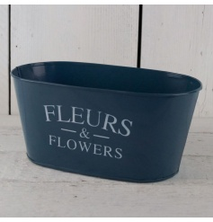 A stylish metal planter in a rich navy colour. Perfect for planting and for hampers.