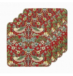 A set of 4 stylish coasters with the popular and richly coloured strawberry thief design.