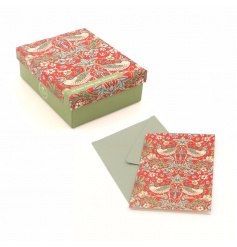 A pack of 12 notecards with envelopes in the popular Strawberry Thief design by William Morris.