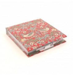A stylish memo pad gift set with pen. A lovely gift in the popular Strawberry Thief design by William Morris.